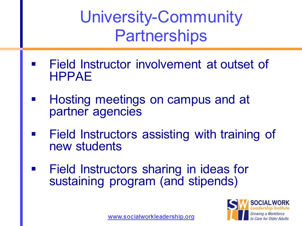 University-Community Partnerships  Field Instructor involvement at outset of HPPAE  Hosting meetings on campus and at partner agencies  Field Instr