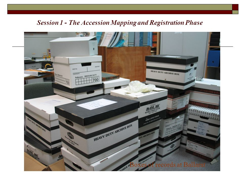 Making Records Meaningful: a step by step approach … Accession Mapping and Registration  How records get into an archival program – surveying, mapping, documentation as part of an accession  Advantage: Can map collection relatively quickly.