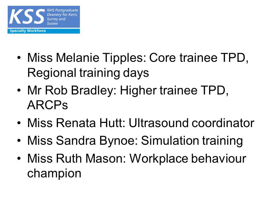 Miss Melanie Tipples: Core trainee TPD, Regional training days Mr Rob Bradley: Higher trainee TPD, ARCPs Miss Renata Hutt: Ultrasound coordinator Miss Sandra Bynoe: Simulation training Miss Ruth Mason: Workplace behaviour champion