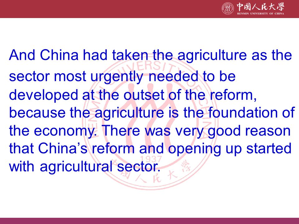 In order to take the comparative advantages of the economy, in China's case, it's rich labour forces, China's government decided to take part in the international division of labour.