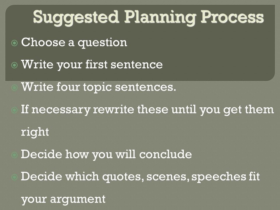 Suggested Planning Process  Choose a question  Write your first sentence  Write four topic sentences.