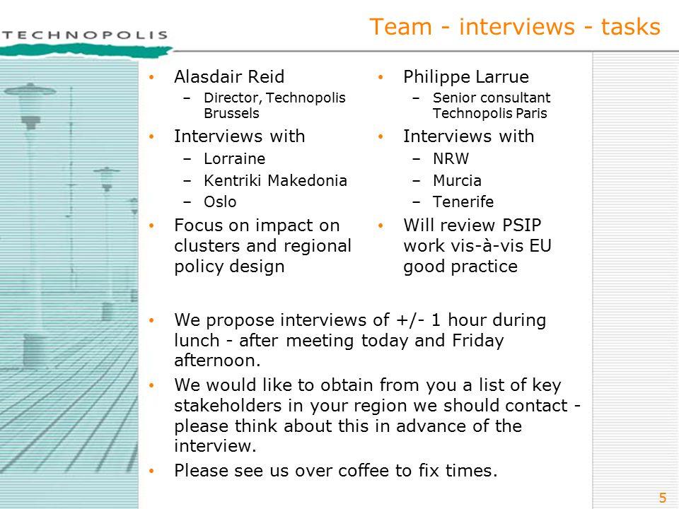 5 Team - interviews - tasks Alasdair Reid –Director, Technopolis Brussels Interviews with –Lorraine –Kentriki Makedonia –Oslo Focus on impact on clust