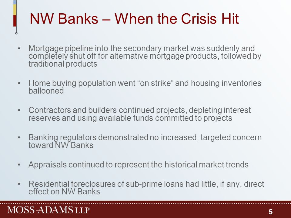 NW Banks – When the Crisis Hit Mortgage pipeline into the secondary market was suddenly and completely shut off for alternative mortgage products, fol