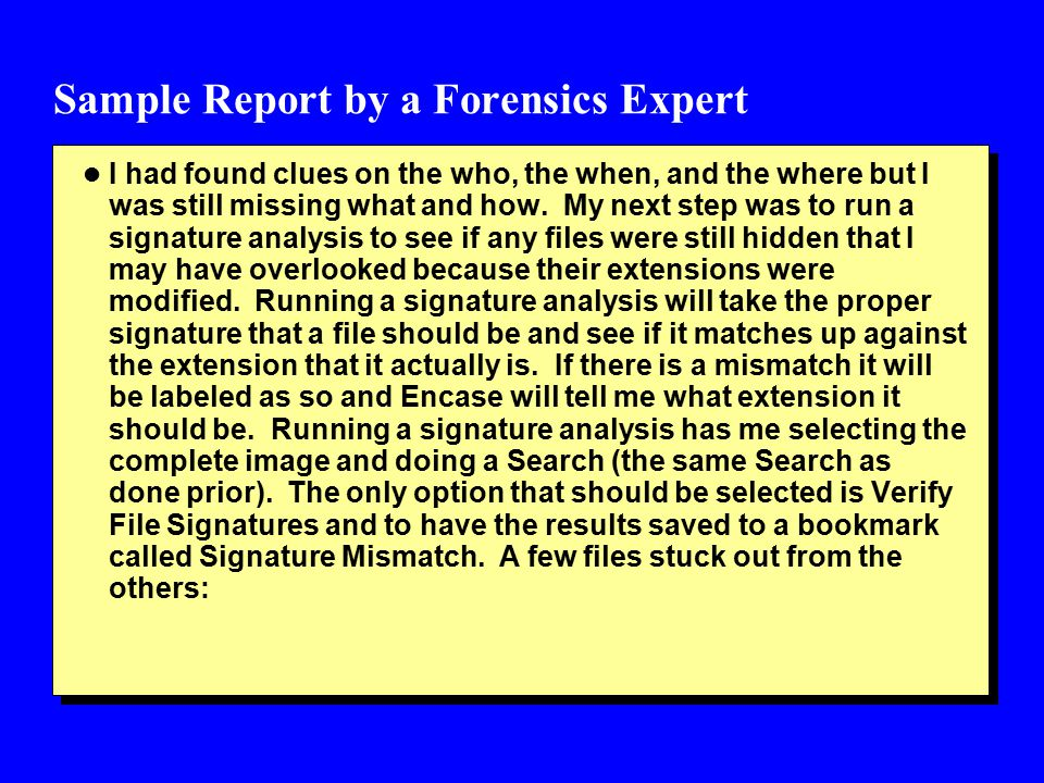 Sample Report by a Forensics Expert l I had found clues on the who, the when, and the where but I was still missing what and how.