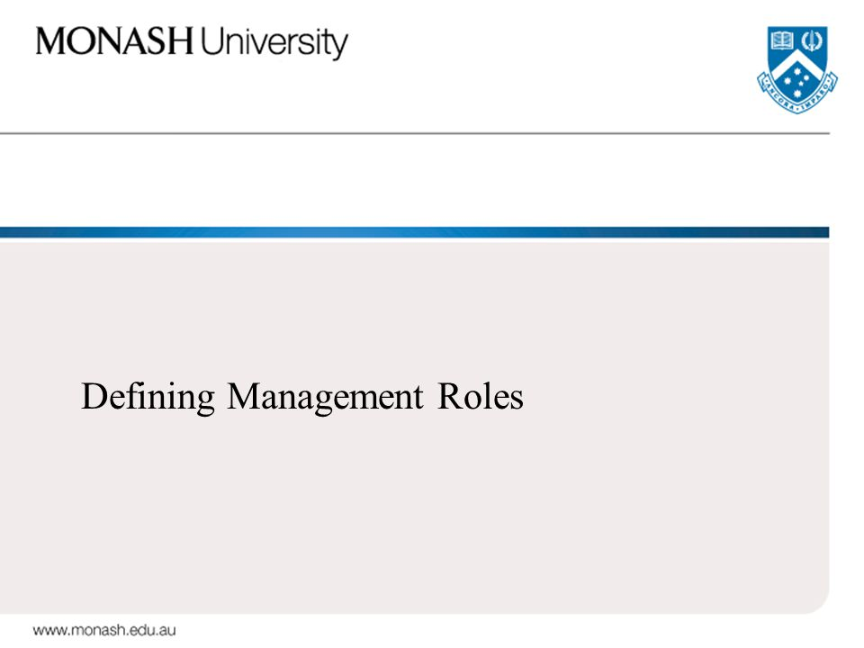 Defining Management Roles