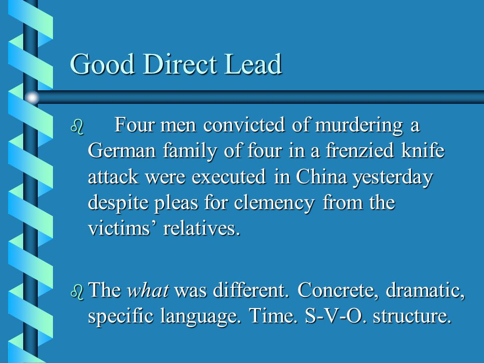 Good Direct Lead b Four men convicted of murdering a German family of four in a frenzied knife attack were executed in China yesterday despite pleas for clemency from the victims' relatives.