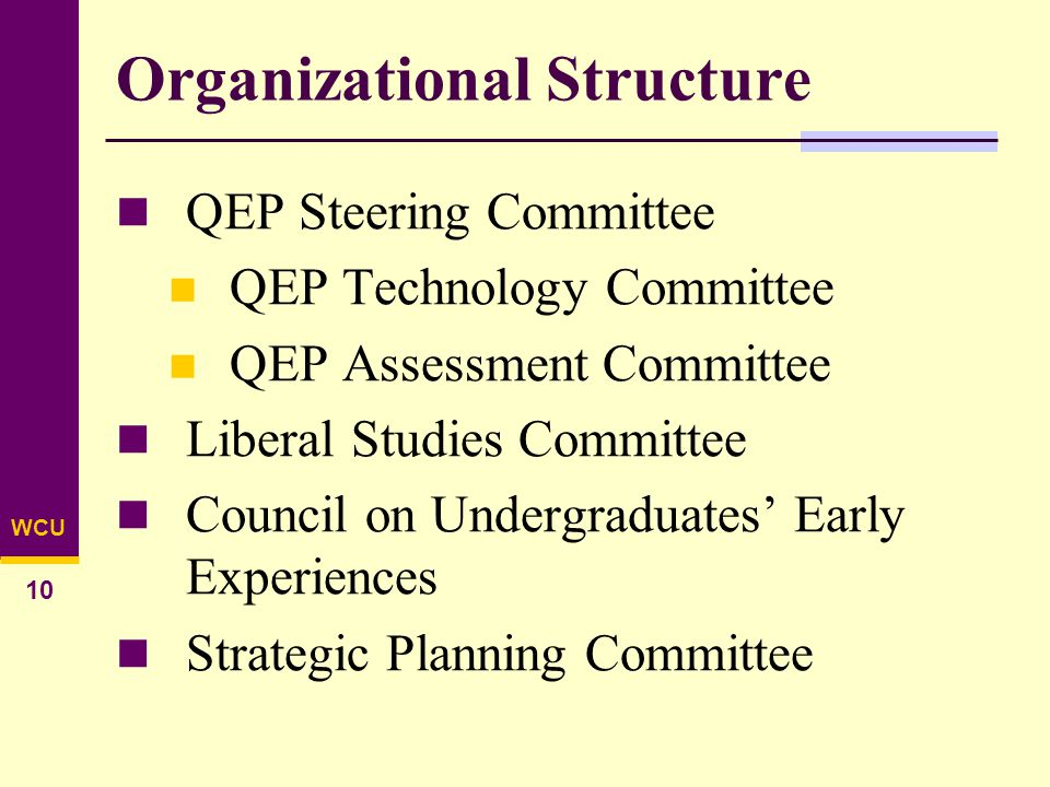 WCU 10 Organizational Structure QEP Steering Committee QEP Technology Committee QEP Assessment Committee Liberal Studies Committee Council on Undergraduates' Early Experiences Strategic Planning Committee