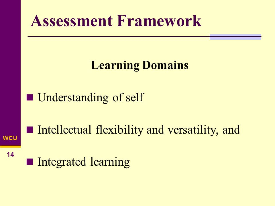 WCU 14 Assessment Framework Learning Domains Understanding of self Intellectual flexibility and versatility, and Integrated learning