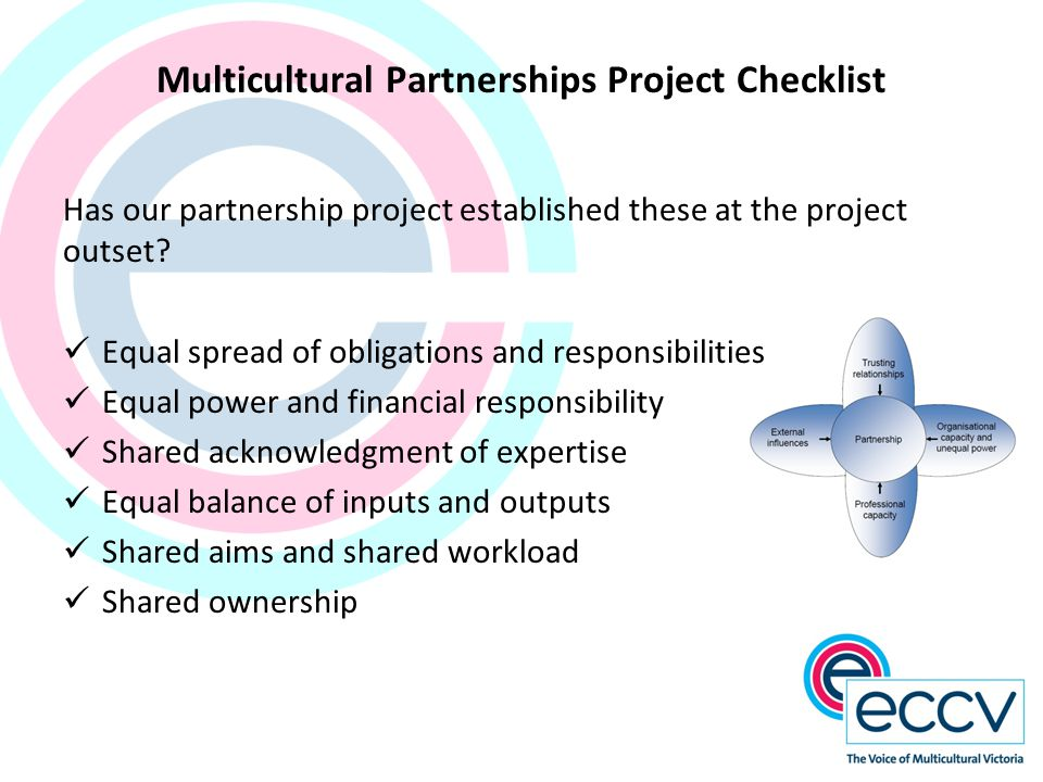 Multicultural Partnerships Project Checklist Has our partnership project established these at the project outset? Equal spread of obligations and resp
