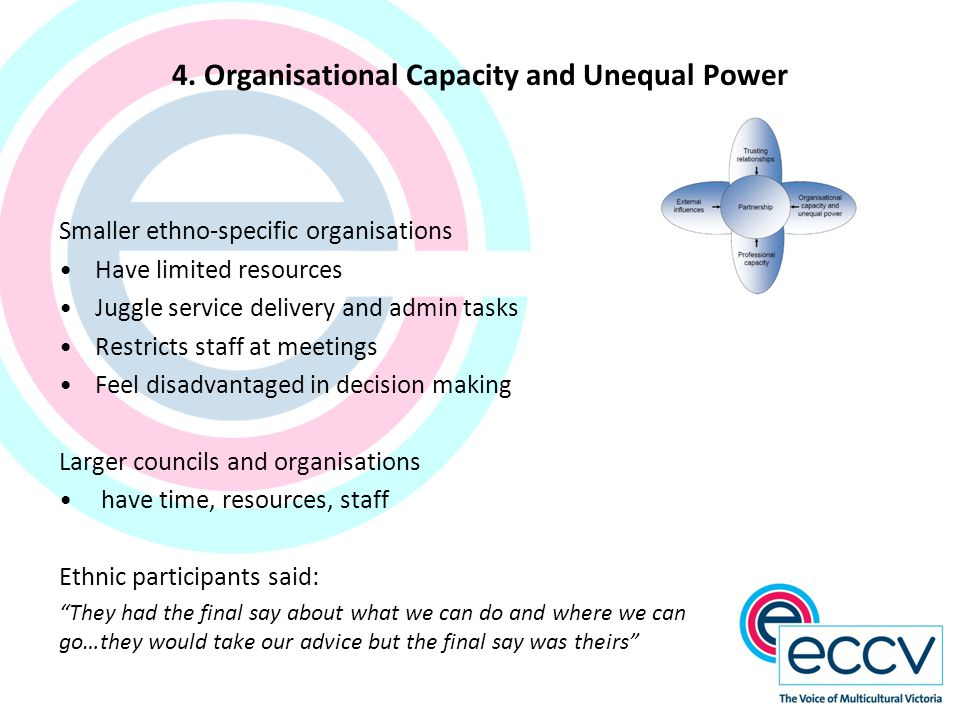 4. Organisational Capacity and Unequal Power Smaller ethno-specific organisations Have limited resources Juggle service delivery and admin tasks Restr