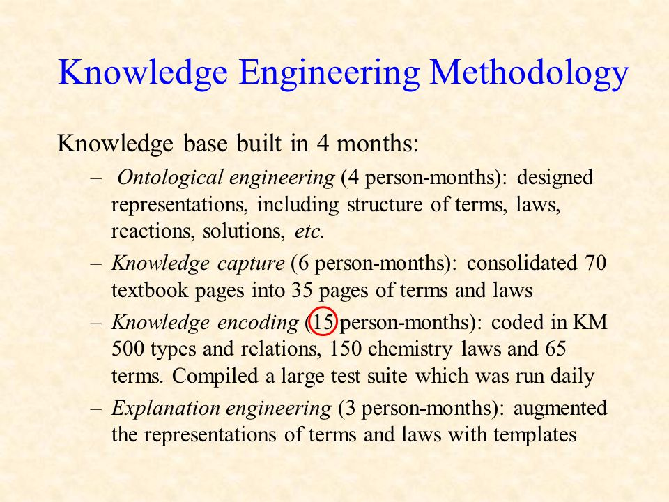 Knowledge Engineering Methodology Knowledge base built in 4 months: – Ontological engineering (4 person-months): designed representations, including s