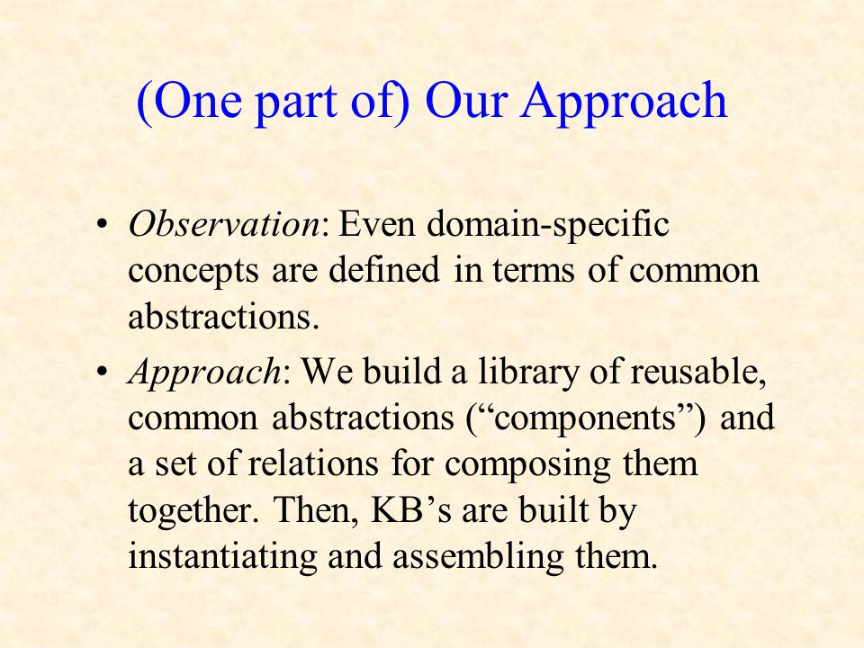 (One part of) Our Approach Observation: Even domain-specific concepts are defined in terms of common abstractions. Approach: We build a library of reu