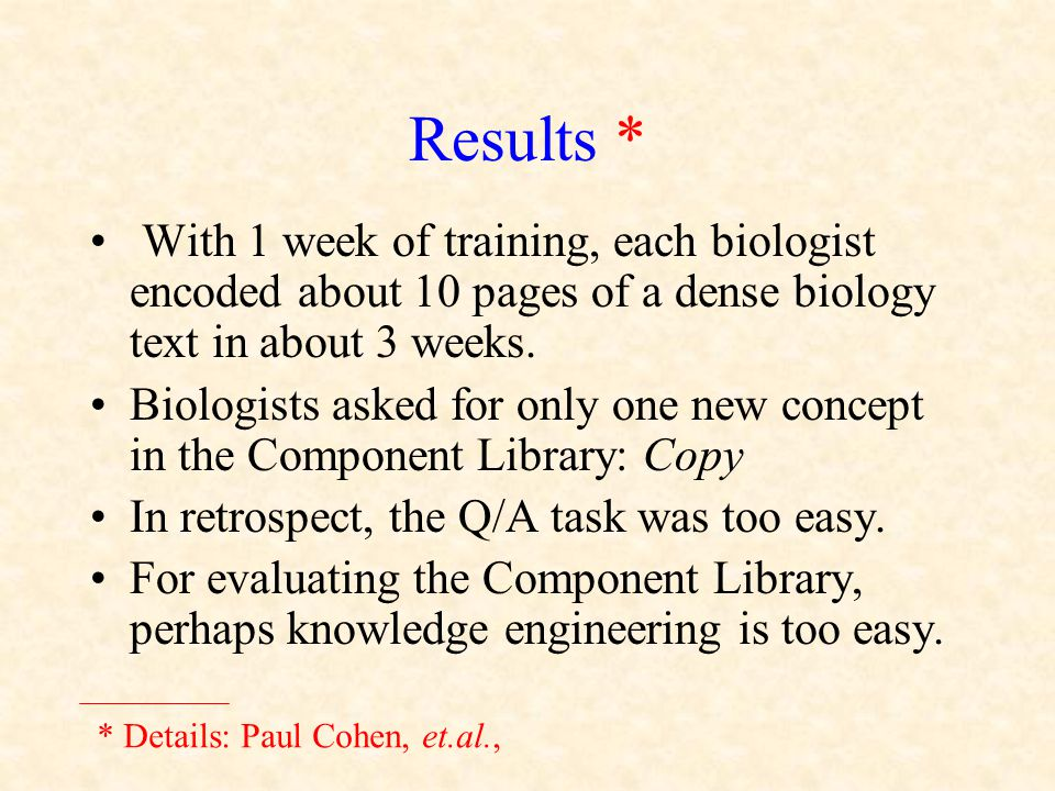 Results * With 1 week of training, each biologist encoded about 10 pages of a dense biology text in about 3 weeks. Biologists asked for only one new c