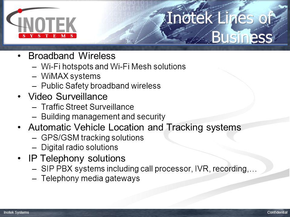 ConfidentialInotek Systems 2.4GHz (Wi-Fi, Bluetooth,…) 2.5GHz (Target for 802.16e) 3.5GHz (802.16-2004) 5.4GHz (Public Safety) 5.8GHz (Pre-WiMAX)