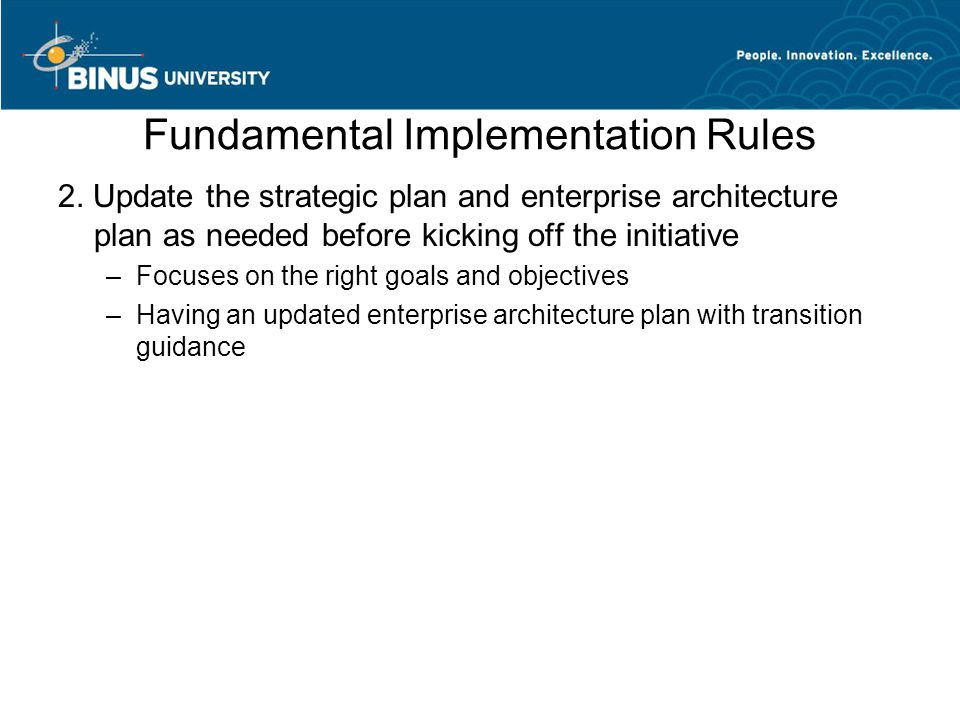Fundamental Implementation Rules 2.