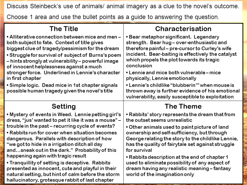 The Title Alliterative connection between mice and men – both subject to fate. Context of title gives biggest clue of tragedy/pessimism for the dream
