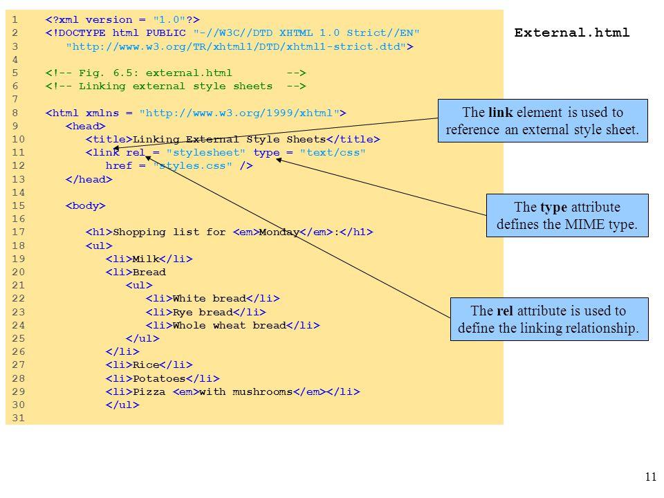 11 External.html 1 2 <!DOCTYPE html PUBLIC
