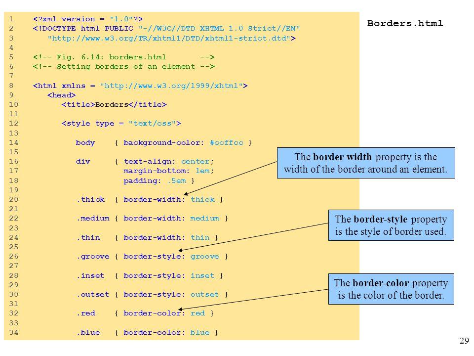 29 Borders.html 1 2 <!DOCTYPE html PUBLIC