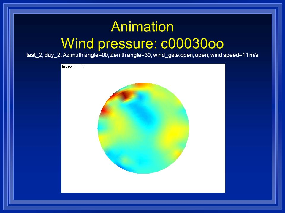 Animation Wind pressure: c00030oo test_2, day_2, Azimuth angle=00, Zenith angle=30, wind_gate:open, open; wind speed=11 m/s