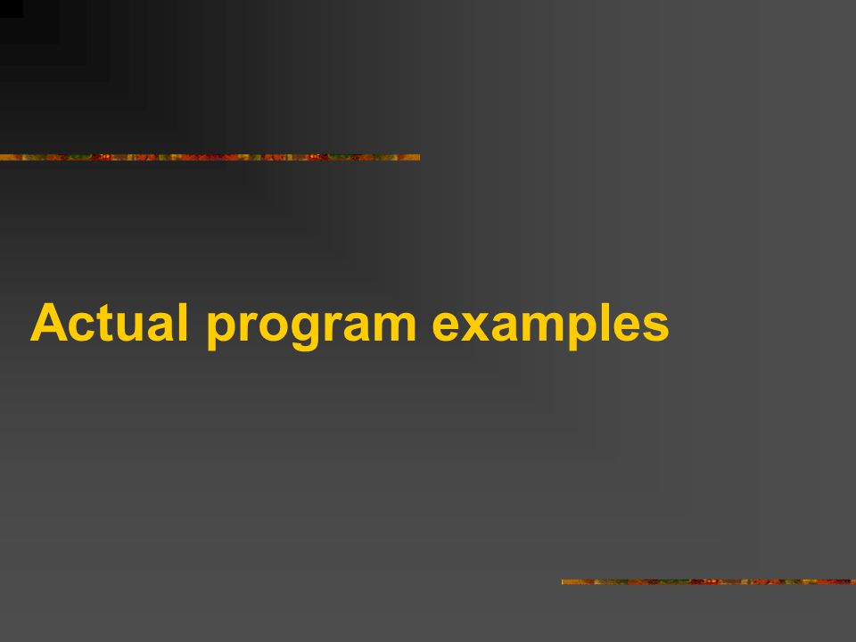 Actual program examples
