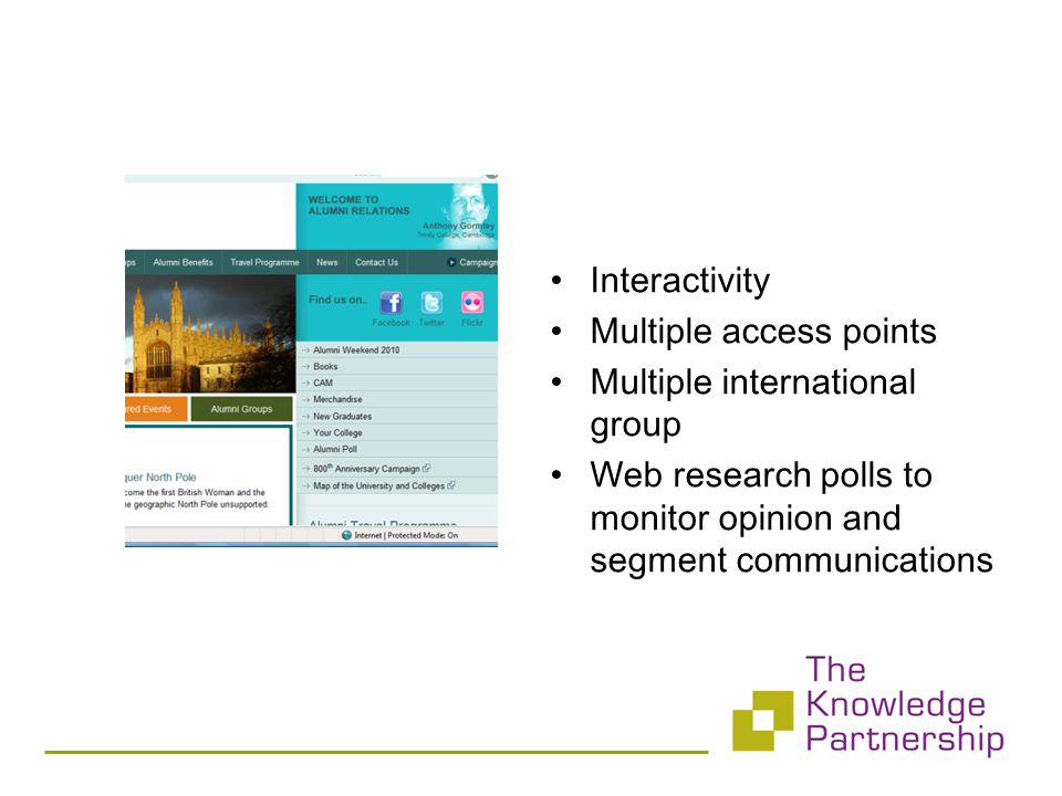 Interactivity Multiple access points Multiple international group Web research polls to monitor opinion and segment communications
