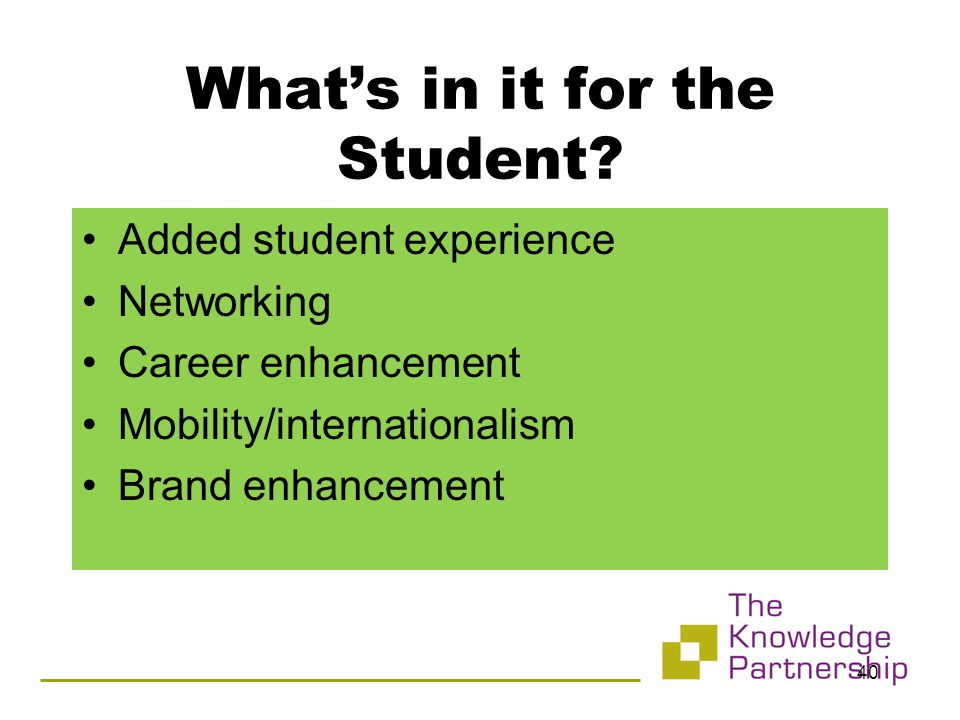 What's in it for the Student.