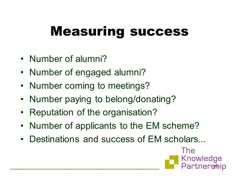 71 Measuring success Number of alumni. Number of engaged alumni.