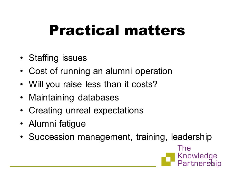 72 Practical matters Staffing issues Cost of running an alumni operation Will you raise less than it costs.