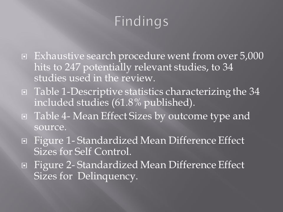 Findings  Exhaustive search procedure went from over 5,000 hits to 247 potentially relevant studies, to 34 studies used in the review.