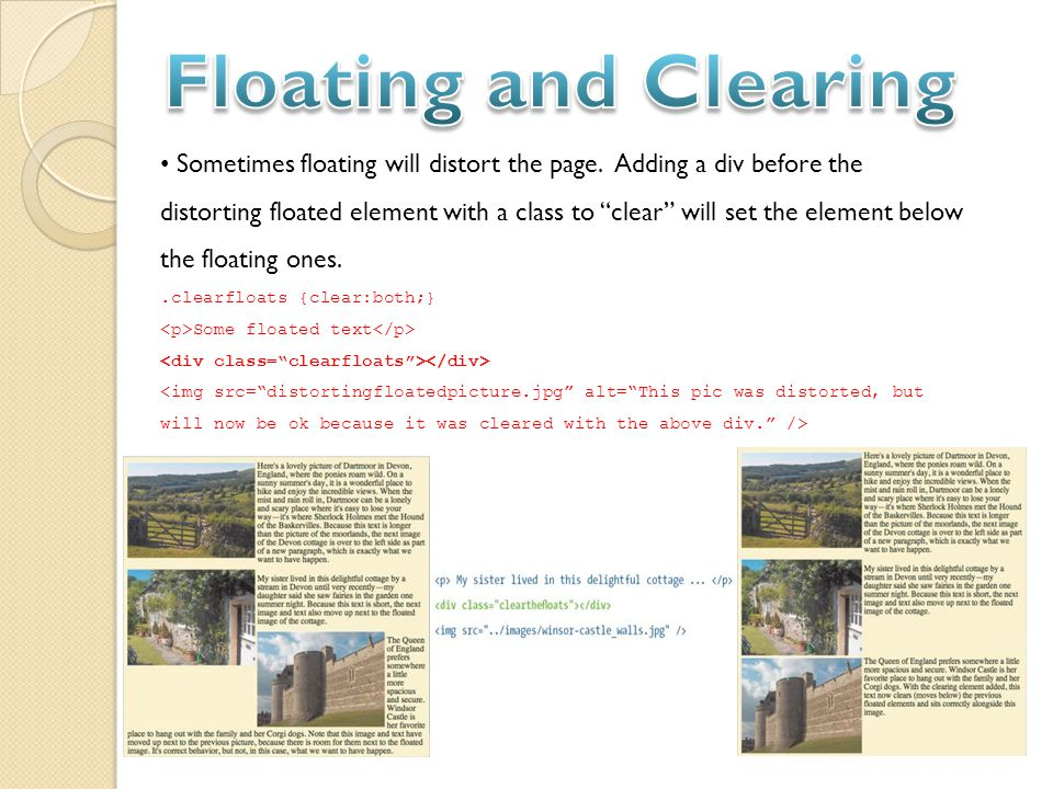 Sometimes floating will distort the page.