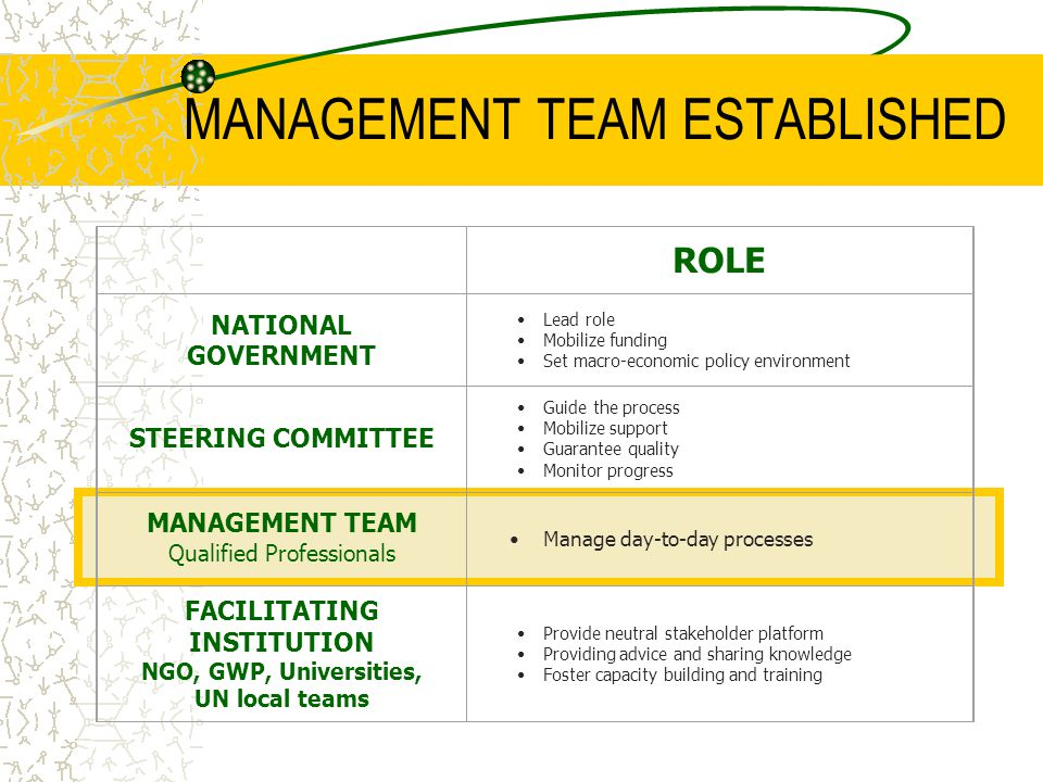 MANAGEMENT TEAM ESTABLISHED Structure of process has important effect on political commitment.