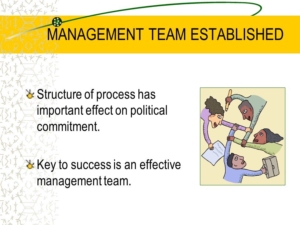 MANAGEMENT TEAM ESTABLISHED Key Tasks of Process Management Team  Organizing and coordinating the overall process and product  Planning specific activities and meetings  Procuring expertise and resources  Supporting working groups and other committees  Acting as a focal point for communication.
