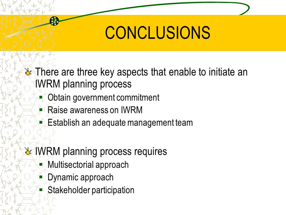 CONCLUSIONS There are three key aspects that enable to initiate an IWRM planning process  Obtain government commitment  Raise awareness on IWRM  Establish an adequate management team IWRM planning process requires  Multisectorial approach  Dynamic approach  Stakeholder participation