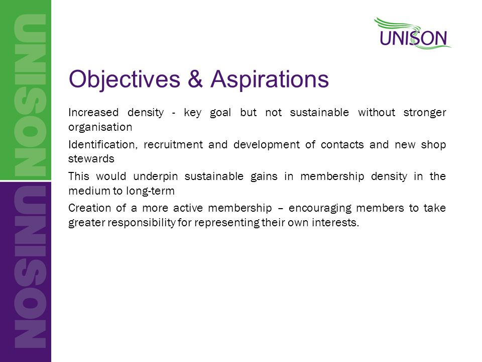 Objectives & Aspirations Increased density - key goal but not sustainable without stronger organisation Identification, recruitment and development of