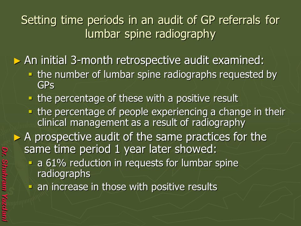 Dr. Shahram Yazdani Setting time periods in an audit of GP referrals for lumbar spine radiography ► An initial 3-month retrospective audit examined: 