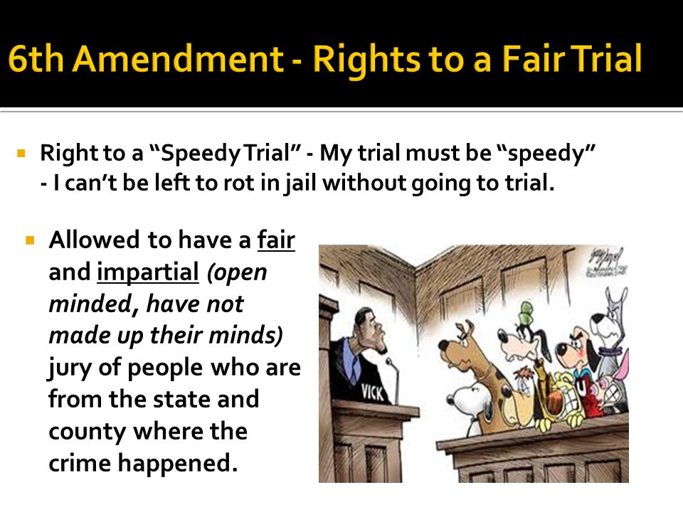" Right to a ""Speedy Trial"" - My trial must be ""speedy"" - I can't be left to rot in jail without going to trial.  Allowed to have a fair and impartia"