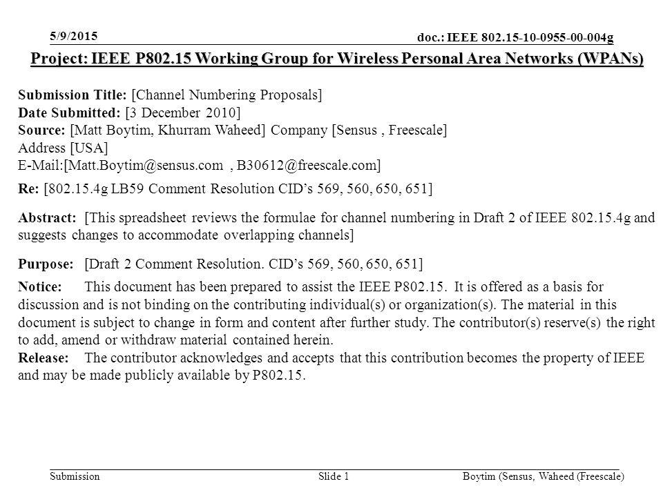 doc.: IEEE 802.15-10-0955-00-004g Submission BACKUP SLIDES 5/9/2015 Boytim (Sensus, Waheed (Freescale)Slide 12