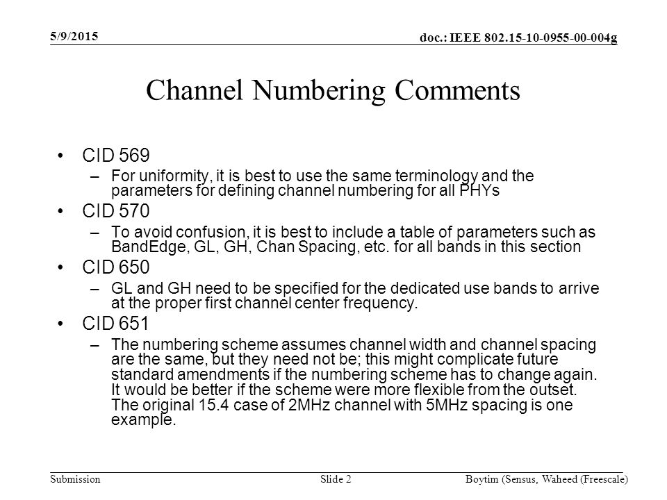 doc.: IEEE 802.15-10-0955-00-004g Submission Executive Summary This document suggests modifications to the formulae used for the computation of channel center frequency and total number of channels in a frequency band as per Draft 2 of IEEE 802.15.4g.