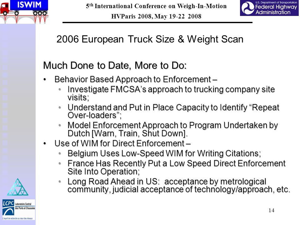5 th International Conference on Weigh-In-Motion HVParis 2008, May 19-22 2008 14 2006 European Truck Size & Weight Scan Much Done to Date, More to Do: