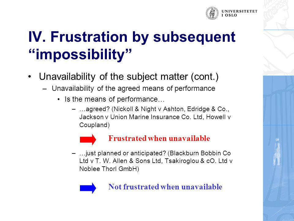 """IV. Frustration by subsequent """"impossibility"""" Unavailability of the subject matter (cont.) –Unavailability of the agreed means of performance Is the m"""