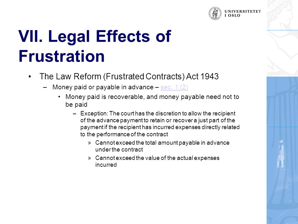 VII. Legal Effects of Frustration The Law Reform (Frustrated Contracts) Act 1943 –Money paid or payable in advance – sec. 1 (2)sec. 1 (2) Money paid i