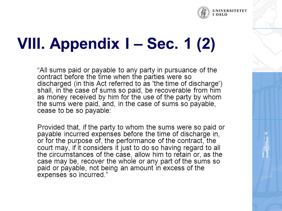 VIII. Appendix I – Sec.