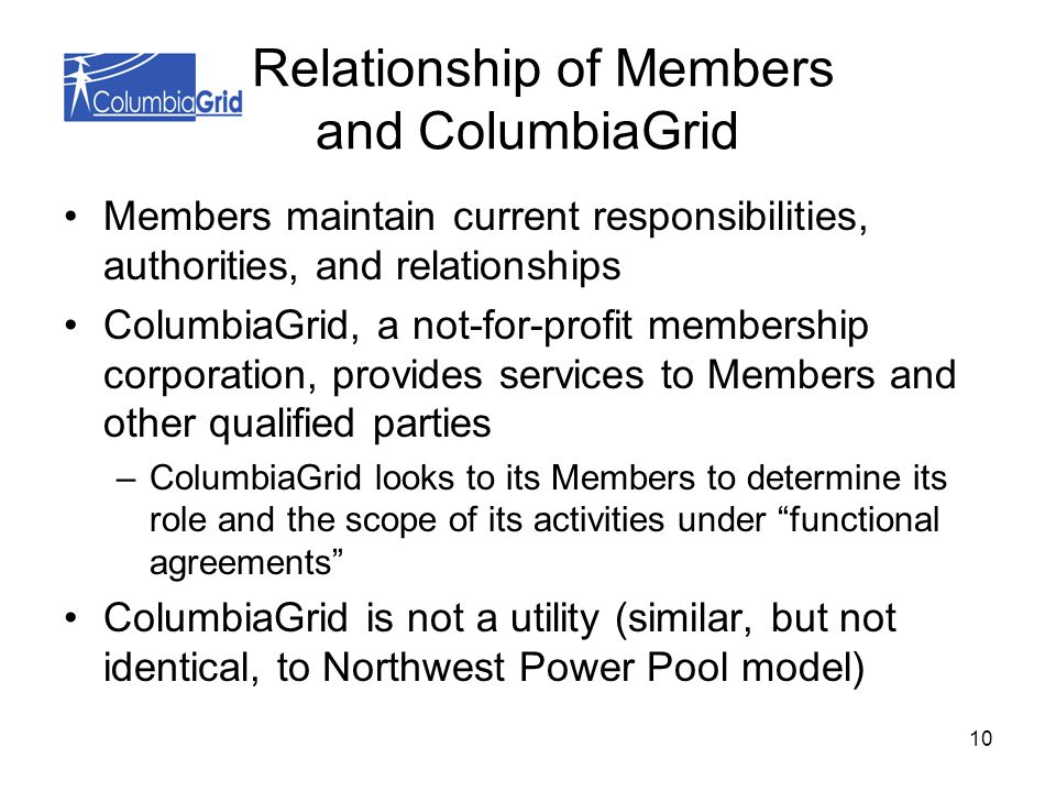 10 Relationship of Members and ColumbiaGrid Members maintain current responsibilities, authorities, and relationships ColumbiaGrid, a not-for-profit membership corporation, provides services to Members and other qualified parties –ColumbiaGrid looks to its Members to determine its role and the scope of its activities under functional agreements ColumbiaGrid is not a utility (similar, but not identical, to Northwest Power Pool model)