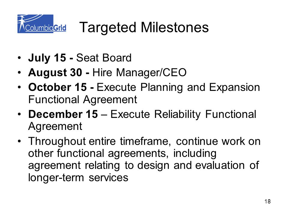 18 Targeted Milestones July 15 - Seat Board August 30 - Hire Manager/CEO October 15 - Execute Planning and Expansion Functional Agreement December 15 – Execute Reliability Functional Agreement Throughout entire timeframe, continue work on other functional agreements, including agreement relating to design and evaluation of longer-term services