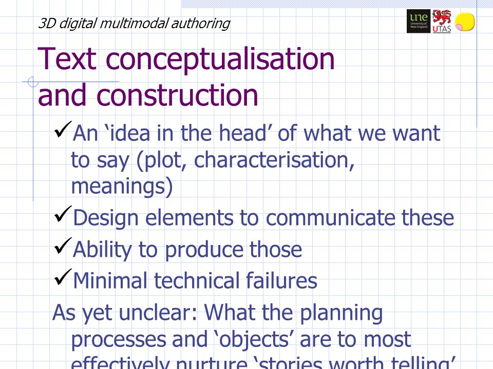 3D digital multimodal authoring Text conceptualisation and construction An 'idea in the head' of what we want to say (plot, characterisation, meanings) Design elements to communicate these Ability to produce those Minimal technical failures As yet unclear: What the planning processes and 'objects' are to most effectively nurture 'stories worth telling'