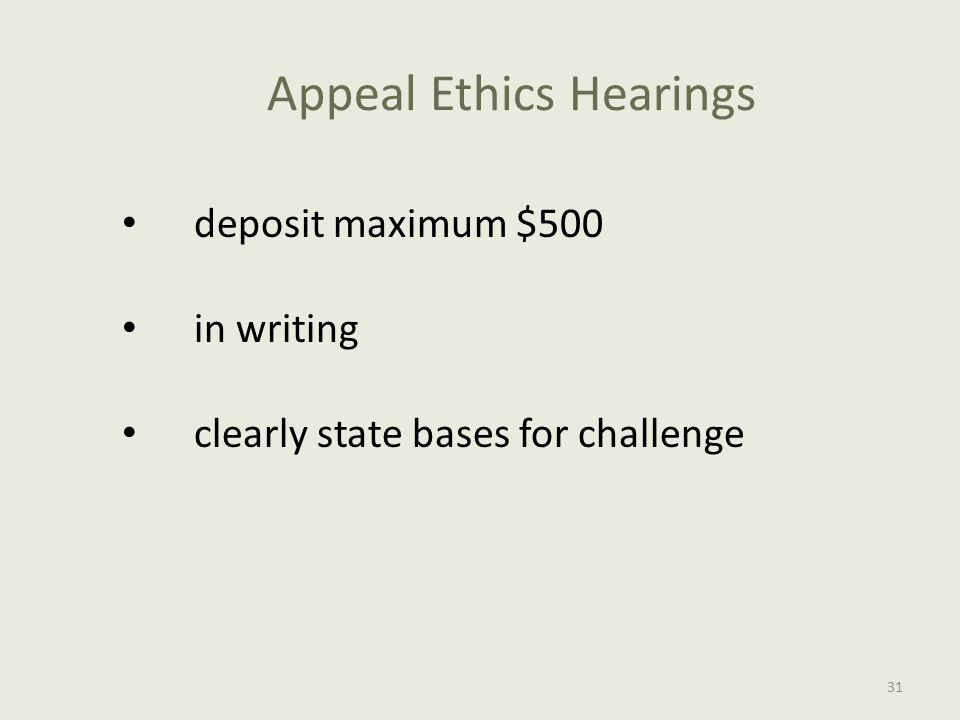 Appeal Ethics Hearings deposit maximum $500 in writing clearly state bases for challenge 31