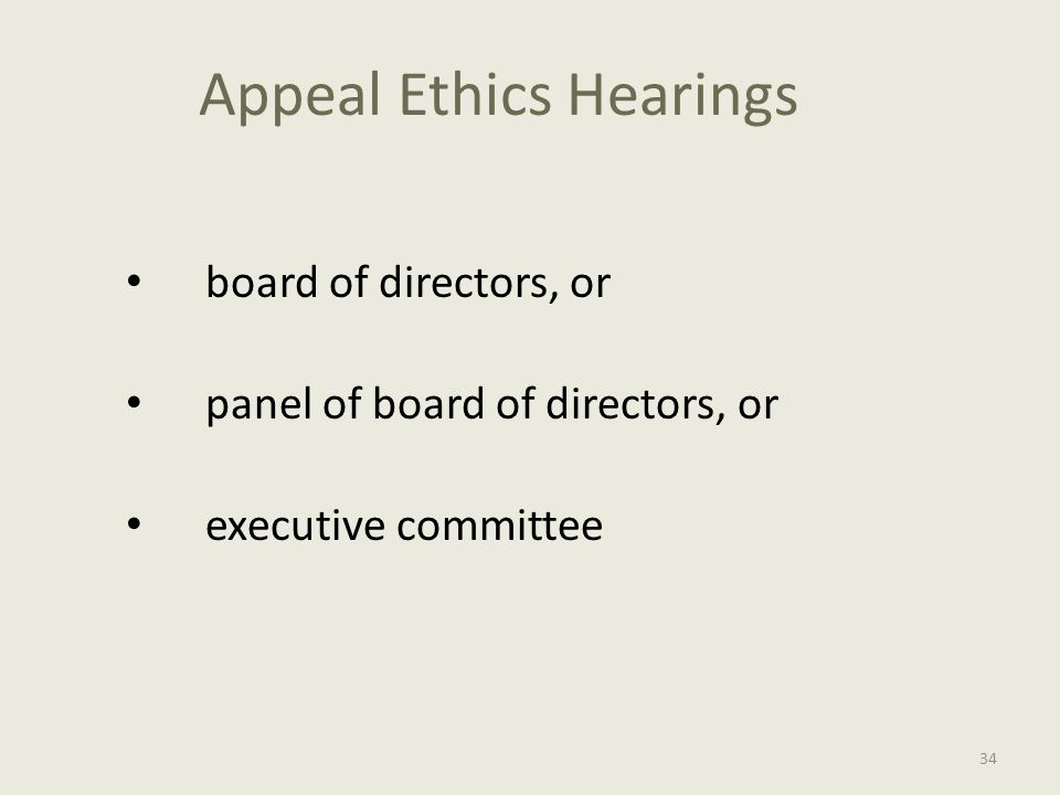 Appeal Ethics Hearings board of directors, or panel of board of directors, or executive committee 34