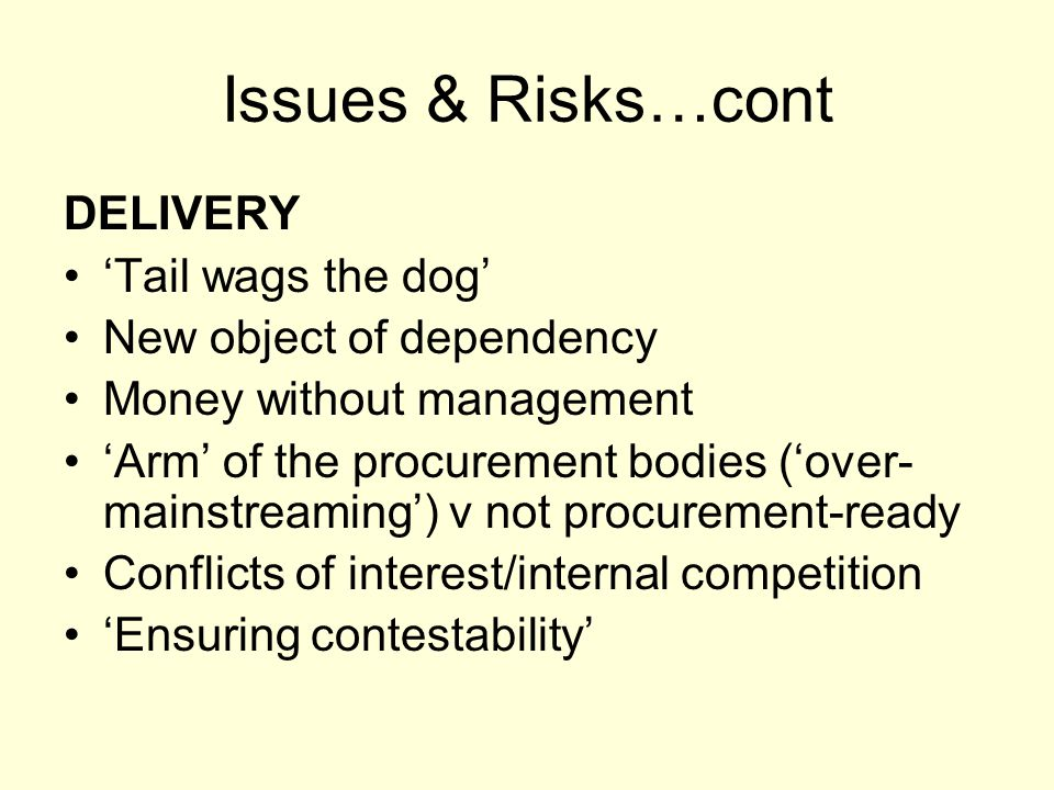 Issues & Risks…cont DELIVERY 'Tail wags the dog' New object of dependency Money without management 'Arm' of the procurement bodies ('over- mainstreami