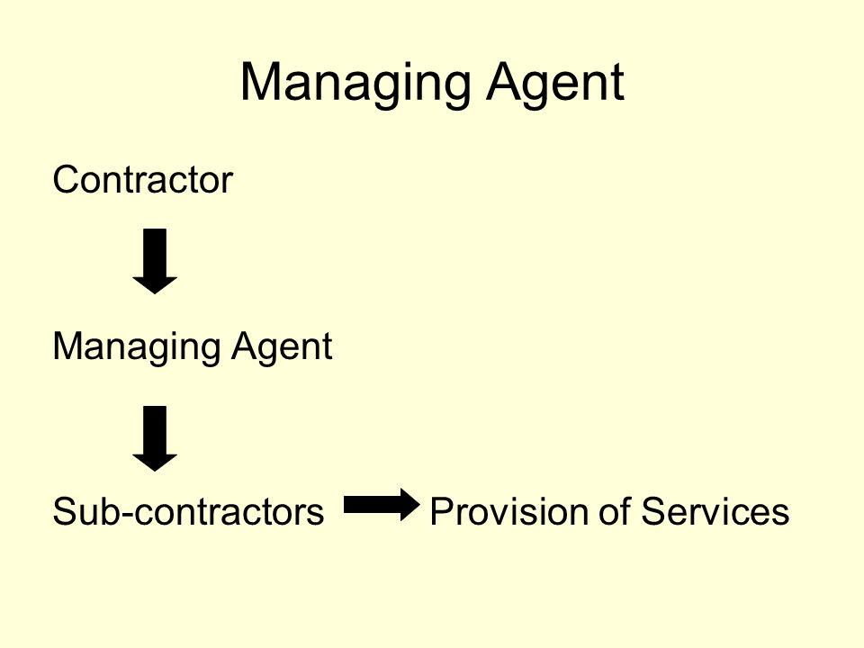 Managing Agent Contractor Managing Agent Sub-contractors Provision of Services