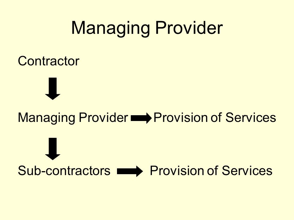Managing Provider Contractor Managing Provider Provision of Services Sub-contractors Provision of Services